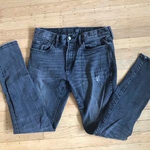 Gap men's faded black/gray skinny 30 x 32 jeans